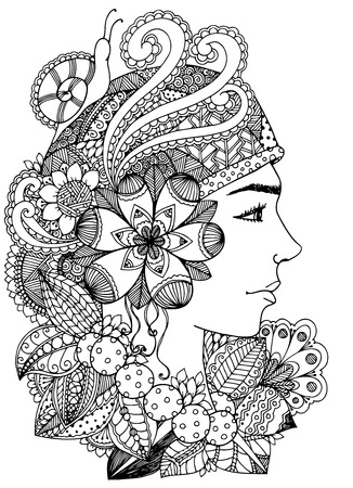 Doodle drawing. Meditative exercise. Coloring book anti stress for adults. Black white.  イラスト・ベクター素材