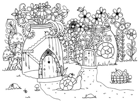 white: Vector illustration zentangl, Snail and the house. Doodle drawing pen. Coloring page for adult anti-stress. Black and white.