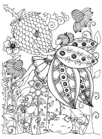Illustration zentangl girl butterfly in the flowers. Doodle drawing. Coloring page Anti stress for adults and children. Black and white.