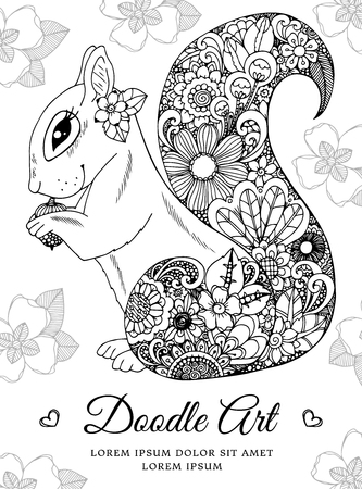 Vector illustration, squirrel with flowers. Doodle drawing. Coloring page Anti stress for adults and children. Black and white.