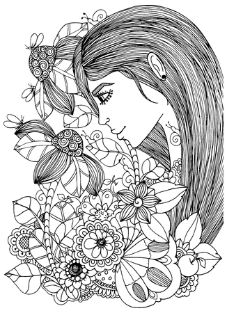 Illustration zentangl girl in the floral frame. Doodle drawing. Meditative exercise. Coloring book anti stress for adults. Black white.
