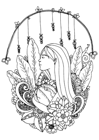 Illustration zentangle girl with pumpkin. Doodle drawing. Coloring page Anti stress for adults and children. Black and white.