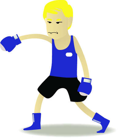boxer cartoon in blue corner set Vector