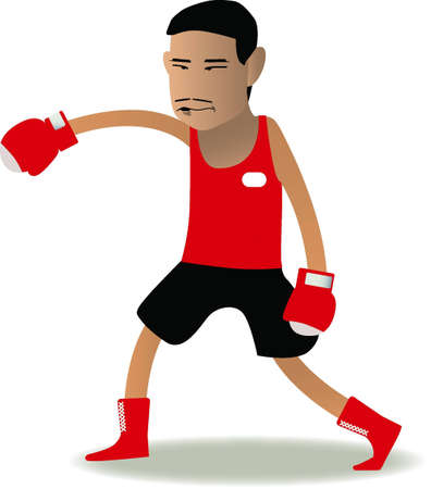 pugilism: boxer cartoon in red corner set