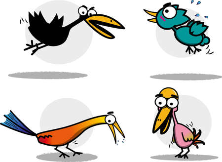 woodpecker: cute birds vector set