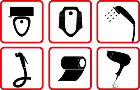 latrina: Servizi igienici e accessori bagno icon set