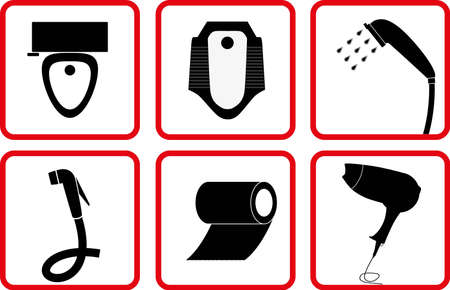fecal: Toilet and Bathroom Accessory icon set