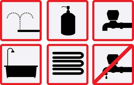 servicio domestico: WC y conjunto de accesorios de baño icono Vectores