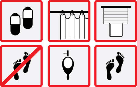 curtains: Toilet and Bathroom Accessory icon set