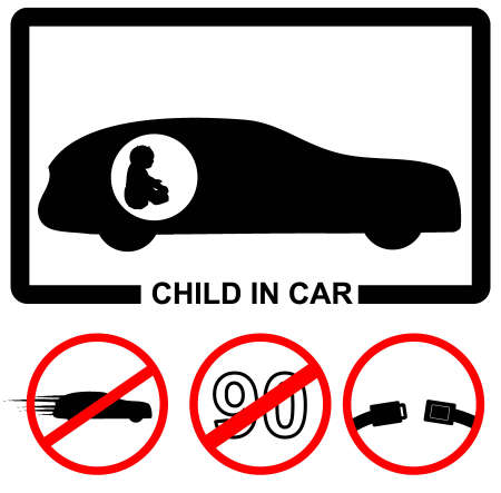 life belt: Child in car icon set Illustration