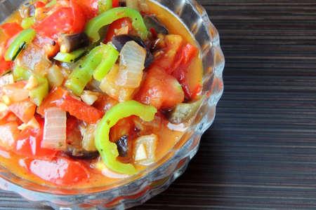 stewed: Stewed vegetables in tomato juice