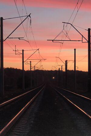 premise: Beautiful sunset on the premise of the railway Background.