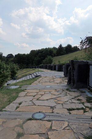 reenacting: KIEV, UKRAINE : View of ukrainian and soviet tank in the war museum Stock Photo