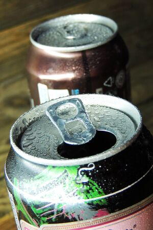 Aluminium cans. Top part of beer cans. Top view
