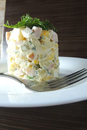 potato tree: Russian traditional salad Olivier with fresh cucumber