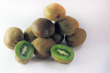 Kiwi on white background, closeup. Fresh fruit