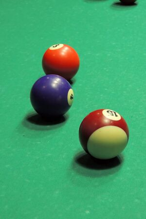 snooker hall: Billiard table with balls. Close-up. Narrow depth of field.