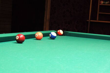narrow depth of field: Billiard table with balls. Close-up. Narrow depth of field.