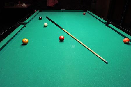 snooker halls: Billiard table with balls. Close-up. Narrow depth of field.
