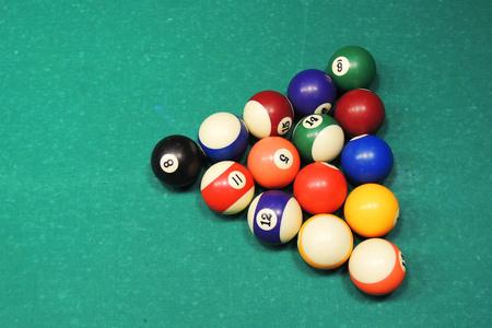 billiards halls: Billiard table with balls. Close-up. Narrow depth of field.