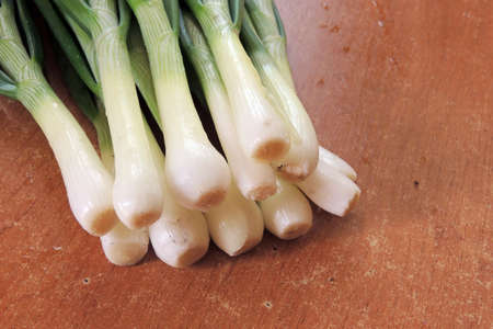 potherbs: Bunch of fresh green onions in bundle on breadboard table. Dark or neutral wooden background