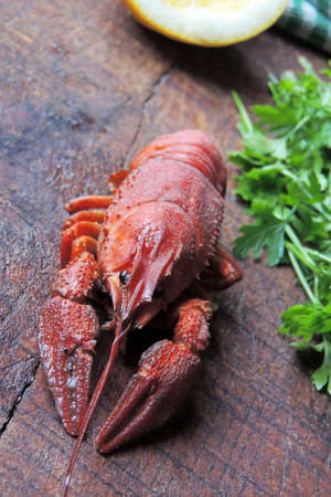 ration: Lobster, herbs and lemon on wooden Board