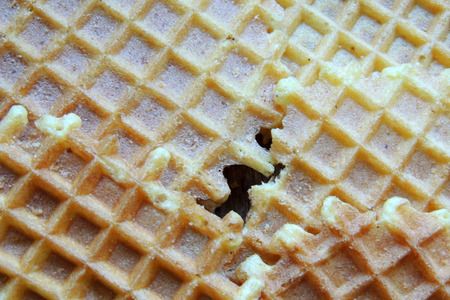 Waffles for Breakfast, Background, wooden background Closeup Stock Photo