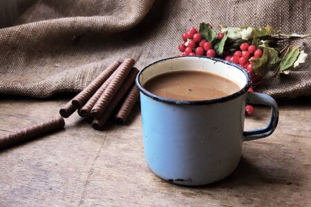 sweetness: Cup of coffee with Christmas sweetness. Cocoa and cookies