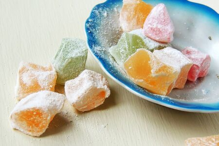 baklawa: Turkish Delight Sweets With Powdered Sugar Close Up Stock Photo