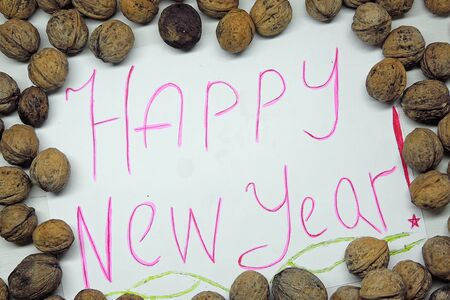 shvat: With the New year. Background with nuts