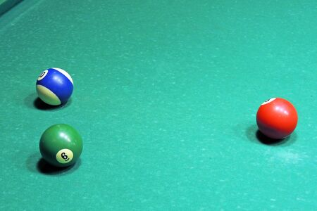 Billiard table with balls. Close-up. Narrow depth of field.