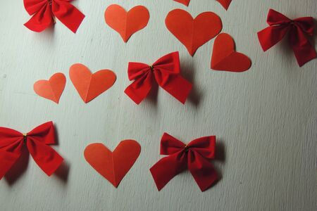 valentines day mother s: Red hearts confetti on white background. Background for Valentines day