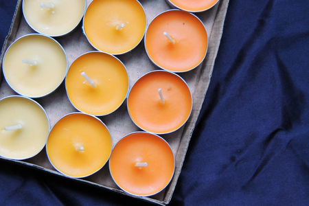 Closeup of lighting candle with burning match suited for relaxing ads usage Stock Photo
