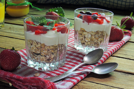 diet dessert with yogurt, muesli and fresh berries