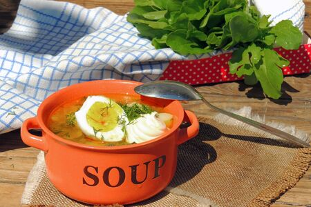 Green borscht with sorrel, spinach and potato, topped with boiled egg and sour cream on a vintage wooden table. Food photo in rustic style.
