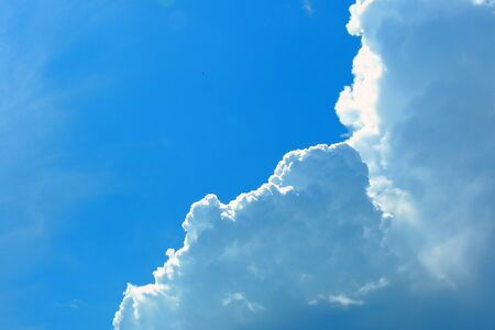 Clouds and blue sky background with copy space