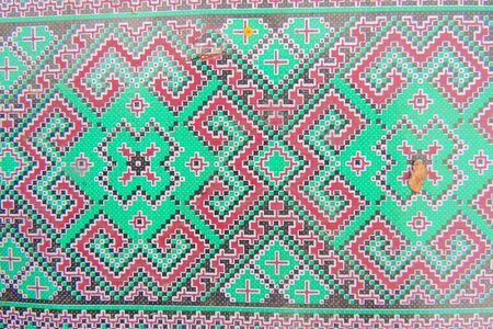 Ukrainian embroidery folk pattern ornament. Design of ethnic textures. Geometric ornament. Embroidered element by flat stitch on flax by red and white cotton threads. Stok Fotoğraf