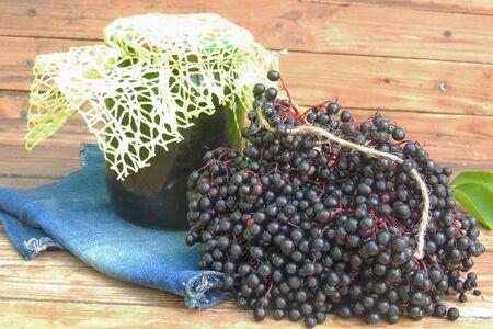 winter jam with elderberry elderberry close- up