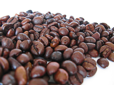 depends: taste of coffee depends on treatment of coffee grains Stock Photo