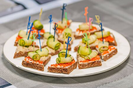 appetizing: open sandwich with  caviar food red appetizing