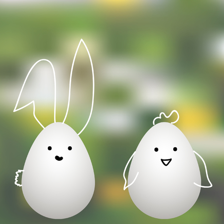 Easter bunny and chiken on background illustration