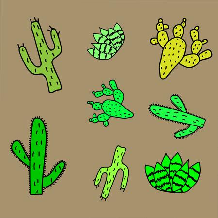 A set of cacti. Creative baby cactus texture