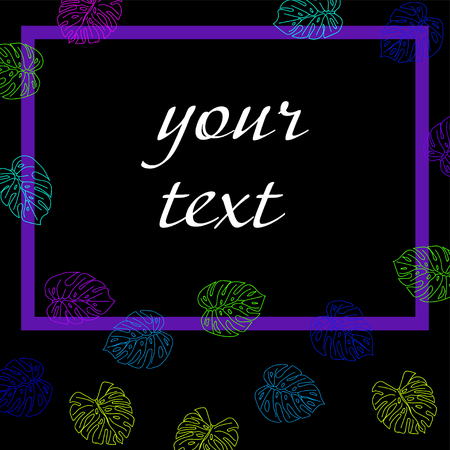 tropical leaves with frame for text on black background.  Vector illustration.