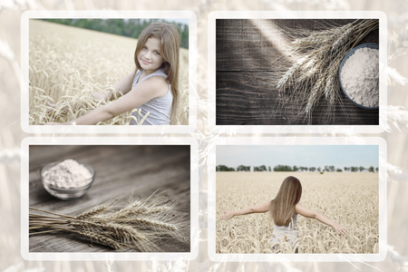 Collection of photos beautiful little girl in wheat field amd wheat ears and flour on old wooden rustic table