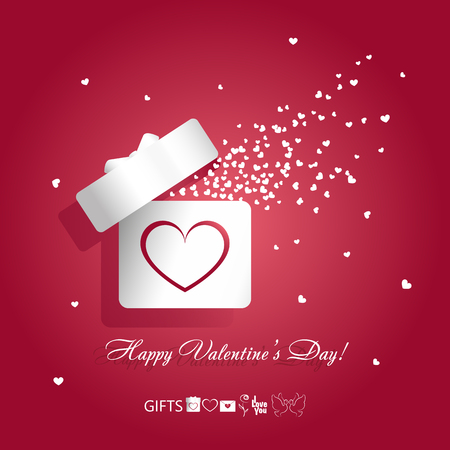 Valentine's day concept vector illustration with open gift box and flying hearts on red background. Vector illustration with symbols of love gifts: box, heart, envelope, rose, kissing pigeons