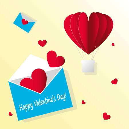 Vector paper card Valentines day. Open envelope with flying red hearts. and air hot balloon on yellow background.