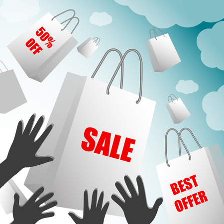 White paper bags with sales labels falling into the hands of buyers on blue sky background with clouds. Sale, Best Offer, Shopping,, Business, Valentines Day, Black Friday