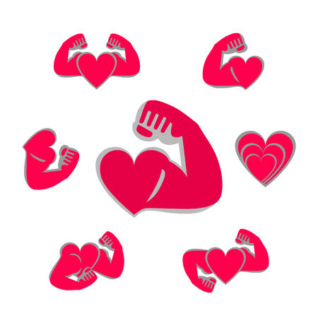 Vector icons set Athlete sportsman bodybuilder and a red heart. The concept of a healthy lifestyle and strength. Happy Valentines day gratters. White background Illustration