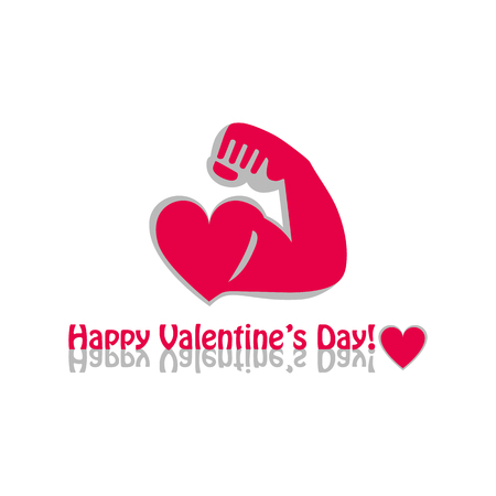 Vector graphic flat icon Athlete sportsman bodybuilder and a red heart. The concept of a healthy lifestyle and strength. Happy Valentines day greeting White background Illustration