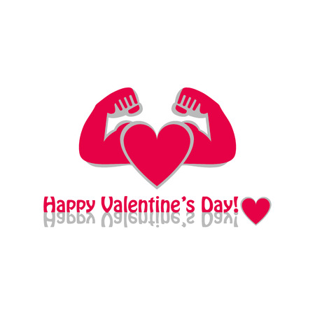 Vector graphic flat icon Athlete sportsman bodybuilder and a red heart. The concept of sport, gym and strength. Happy Valentines day greeting on white background